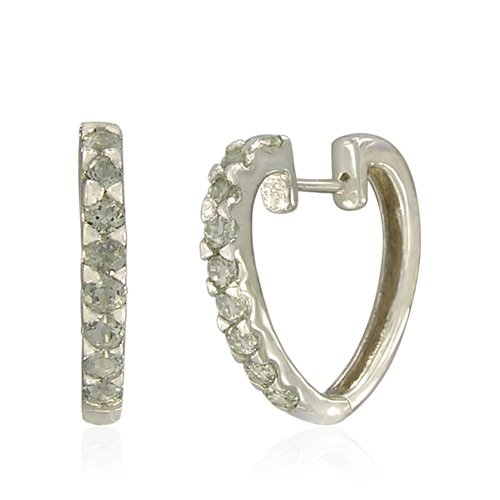 Sterling Silver Round-Shaped Green Amethyst Hoop Earrings