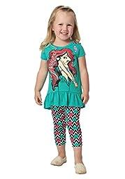 Disney Little Girls\' 2 Piece Ariel Legging Set, Green, 6