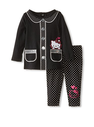 Hello Kitty Baby-Girls Infant Set Polka Dot Legging, Anthracite, 12 Months front-425462