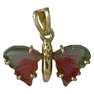 Watermelon Tourmaline Butterfly in 18 Karat Gold