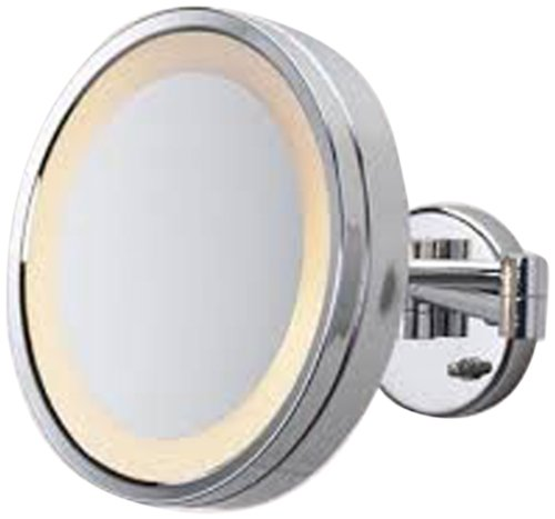 See All Hlcsa1095 Halo Lighted 9 3/4-Inch Diameter Wall Mounted Make Up Mirror 5X, Chrome front-750426