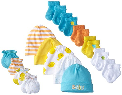Gerber Unisex-Baby Newborn Ducks 15 Piece Socks Caps and Mittens Essential Set, Green, 0-3M/0-6M