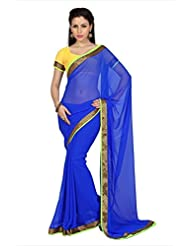 Designersareez Women Blue Faux Georgette Saree With Unstitched Blouse (1697)