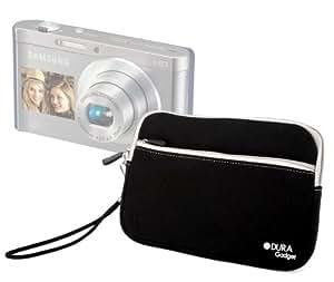 DURAGADGET Housse étui luxe en néoprène noir résistant à l'eau + poignée bonus pour appareil photo numérique compact Samsung Smart Camera DV300F et DV150F double écran avec technologie Wi-Fi intégrée - Garantie 2 ans