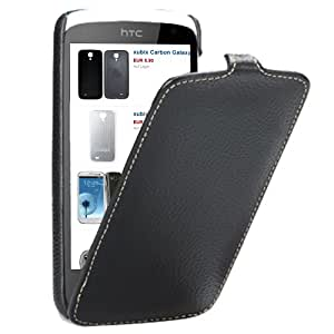 xubix Ultradünn PREMIUM Leder Flip Case HTC Desire 500 Tasche schwarz