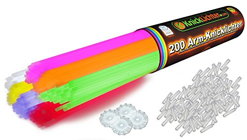 200 Knicklichter KNALLBUNT 7-farbiges Komplett-Set mit 404 Teilen + wiederverschließbare Hardcover Rolle - Fabrikfrische Qualitätsware - seit 12 Jahren in Markenqualität - unter eigenem Label produziert. Geprüft durch Hansecontrol mit Testnote 1,7