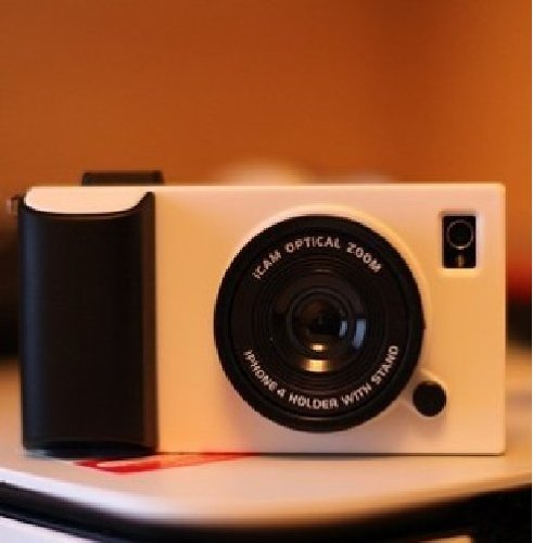 iphoneがカメラに早変わり iphone5 カメラ型 ケース 全6色 ネックストラップ付き (ホワイト)