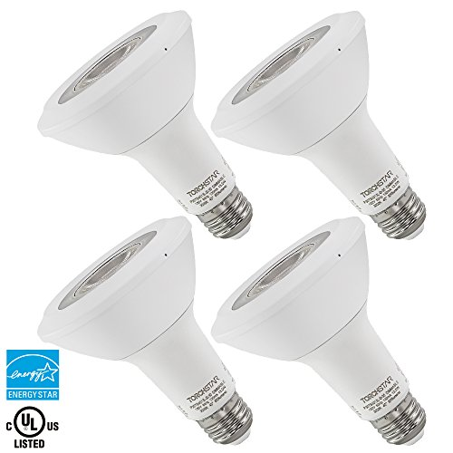 Torchstar #Dimmable# Long Neck PAR30 LED Light Bulb, 75W Equivalent, ENERGY STAR, 3000K Warm White, 800Lm, E26 Medium Base, Damp Location Available, 3 YEARS WARRANTY, Pack of 4 (30 Par Led Lights compare prices)