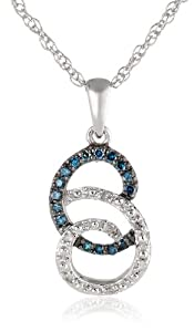 "Sterling Silver Scroll Link Blue and White Diamond Pendant Necklace (1/10 cttw, I-J Color, I2-I3 Clarity), 18"" from JPI"