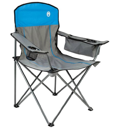 COLEMAN Camping Outdoor Oversized Quad Chair w Cooler & Cup Holder Gre