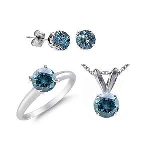 6 CT Blue Diamond Set 14K White Gold - Ring, Pendant & Earrings