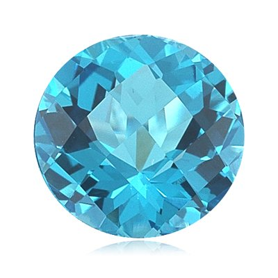 4.05 Cts of 10 mm Round Checker Board AA Loose Swiss Blue Topaz ( 1 pcs ) Gemstone