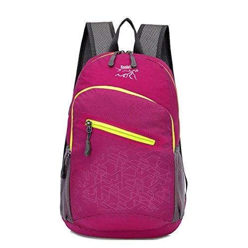 Zerd Quare Expand Foldable Backpack Packable Handy Waterproof Bag Lightweight Daypack For Travel Camping Hiking Rose Red