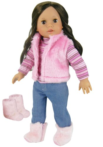 Doll Clothes 4 Pc. Set of Pink Fur Vest, Shirt, Jeans, and Fur Boots, Fits 18 in. dolls