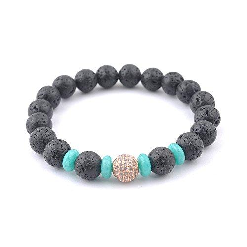 Gloden Zinc Alloy Ball with Lava Stone Beaded Bracelet