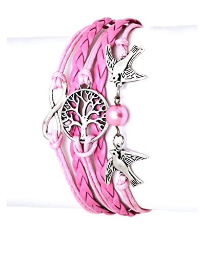 Sweet & Soft Pink and White Rope Birds Friendship Bracelet