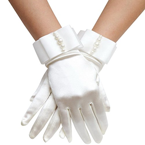 Aivtalk Buckingham Palace Wrist Length Stretch Gloves with Pearls