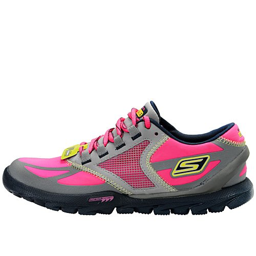 Skechers Women's Go Trail Running Shoe,Grey/Hot Pink,7.5 M US