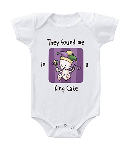 Cute Baby They Found Me In A King Cake Baby Toddler Baby Bodysuit Creeper White 24 Months front-868509