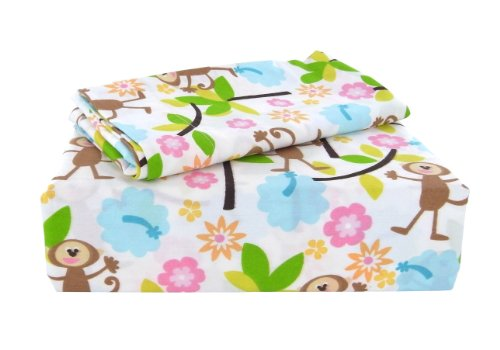 Laura Ashley Sheet Set, Monkeys Collection, Twin front-937596