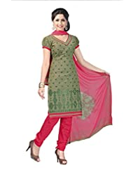 PShopee Green & Red Jacquard Cotton Embroidery Unstitched Dress Material