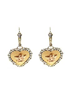 14k Tricolor Gold, Fancy Filigree Style Heart Shape Angel Design Dangling Earring with Sparkly Cuts