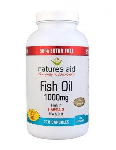 Natures Aid Omega-3 Fish Oil 1000Mg High In Epa & Dha 270 Capsules