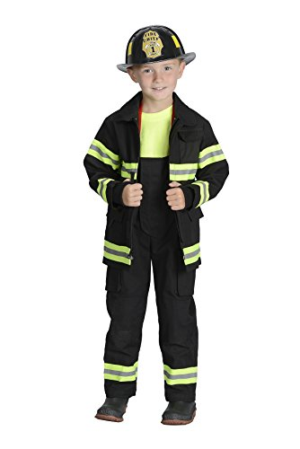 Jr. Fire Fighter Black Suit Kids Costume