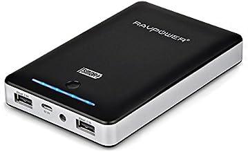 RAVPower 13000mAh 4,5A Ausgang Externer Akku Pack Zusatzakku Power Bank USB Ladegerät für Smartphones und Tablets, Schwarz