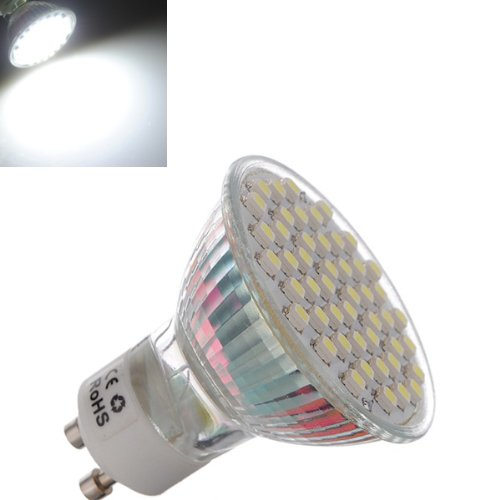 Gu10 3W Pure White 48 3528 Smd Led Spot Downlight Bulb 195-240V Ac