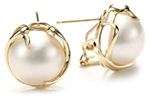 14k Yellow Gold Round Mabe Cultured Pearl Earrings