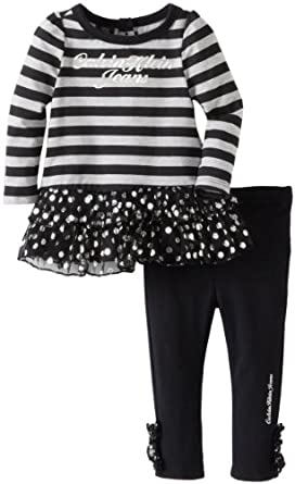 Calvin Klein Baby-Girls Infant and Stripes Tunis with Leggings, Black, 12 Months