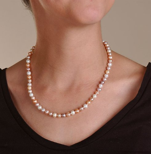 DaVonna 14k Gold Freshwater Cultured Multicolor Pink Pearl Necklace (6.5-7 ...