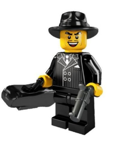 LEGO Minifigures Series 5 Gangster COLLECTIBLE Figure sneaky rotten crook pinstripe suit hat trick violin case - 1