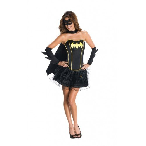 Ladies Batgirl Superwoman Wonder Woman Robin Super Hero Corset Tutu Fancy Dress Costume Outfit (UK 12-14, Batgirl)
