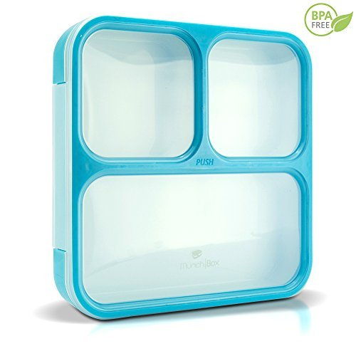 MUNCHBOX Bento Lunch Box - Sleek Edition (Blue) Ultra-Slim Tray Style Leakproof 3-Compartment with Air Tight Seal - Prevents Contents from Mixing and