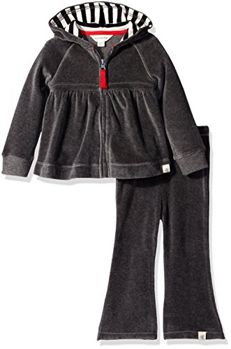 Burt's Bees Baby Baby Girls' Hoodie and Pant Set -Charcoal Heather-24 Months
