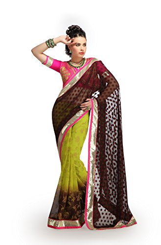 Shubhlaxmi Sarees Faux Georgette Saree(D607_Brown Green Pink)