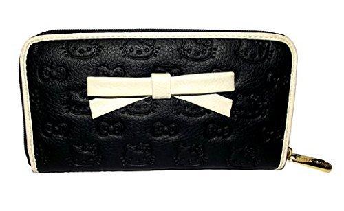 loungefly-hello-kitty-en-relief-noir-creme-portefeuille-avec-noeud-papillon