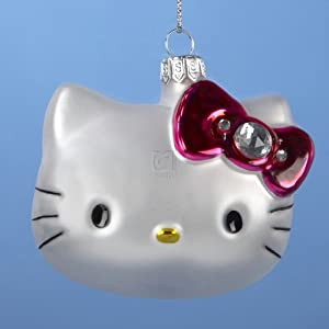#!Cheap Sanrio Hello Kitty Head Glass Christmas Ornament