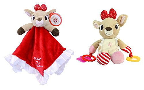 Rudolph the Red-Nose's Clarice Reindeer Baby 1st Christmas Blanky and Activity Toy Set
