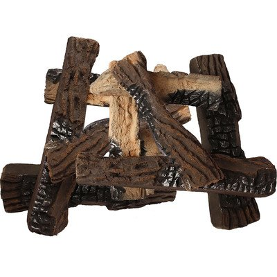 10 Piece Petite Ceramic Wood Gas Log Set (Vent Free Gas Logs 14 Inch compare prices)