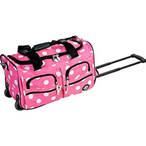 Fox Luggage PRD322-PINK DOT 22 in. Rolling Duffle Bag Rockland