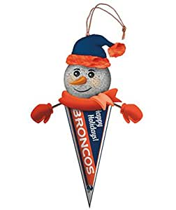 """Pack of 3 NFL Denver Broncos Lighted Snowman Pennant Christmas Ornaments 5"""""""