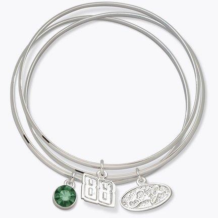 Dale Earnhardt Jr. #88 Triple Bangle Bracelet with Green Stone