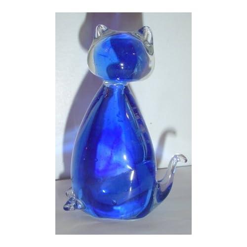 Crystal Glass Blue Kitty Cat Figurine Statue