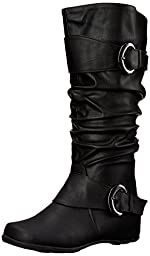 Brinley Co Women\'s Hilton-wc Slouch Boot, Black Wide Calf, 9.5 M US