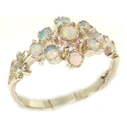 Unusual Solid Sterling Silver Natural Fiery Opal Ring with English Hallmarks - Size 12 - Finger Sizes 5 to 12 Available - Suitable as an Anniversary ring, Engagement ring, Eternity ring, or Promise ring
