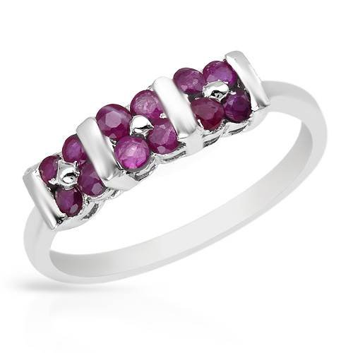 Ring With 0.60ctw Genuine Rubies Crafted in 925 Sterling silver (Size 7)
