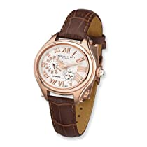 Charles Hubert Brn Strap Rose IP-plated Stainless Steel Automatic Watch